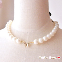 ��HowSweet����Pearl&Butterfly Necklace*