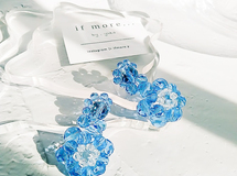 beads flower ☽clear × blue ⌘ ビーズ 花 クリア