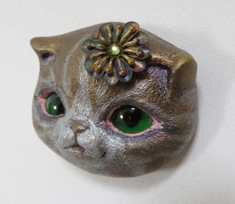 猫フェイスブローチ*A