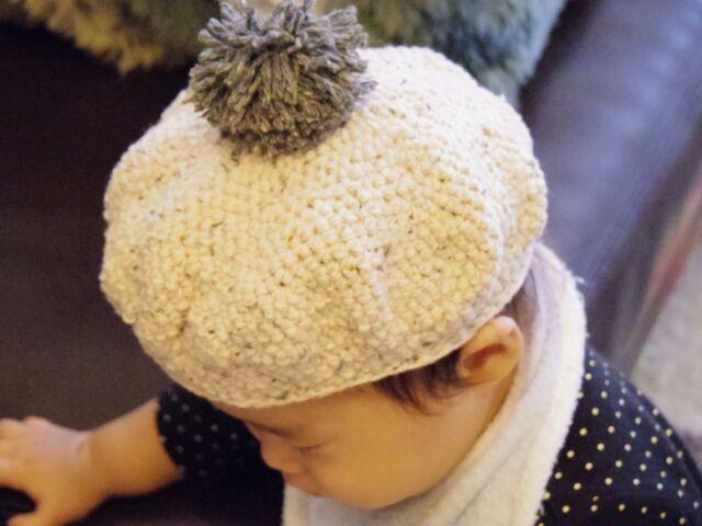再販!ポンポン付きベレー帽 アイボリー Sサイズ