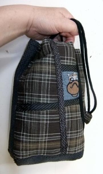 羽織の裏地と消防服で作った巾着袋 675