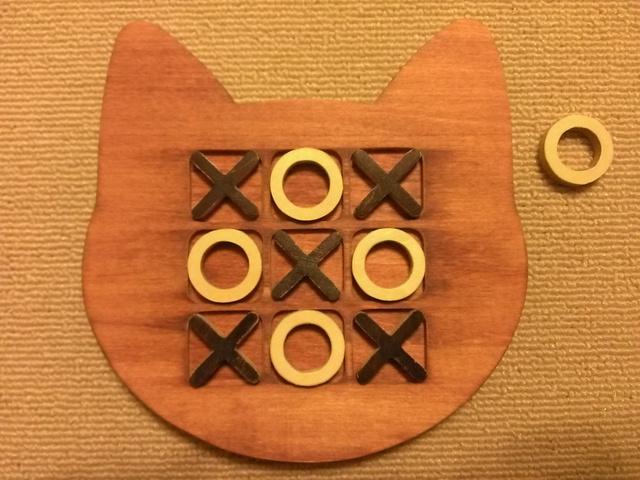 木製ネコ型マルバツ(○×)ゲーム☆チェリー
