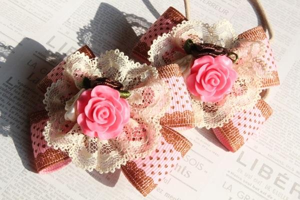 Wリボンのヘアゴム(薔薇とレース☆濃いピンク)