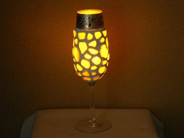 シーグラスのランプシェード
