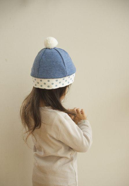 【再販】kidsニットベレー(杢ブルー×水玉)Lサイズ