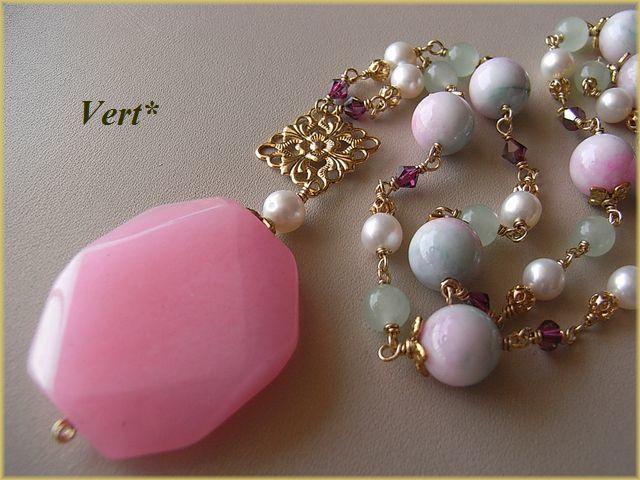 Vert* ピンク×グリーンジェード*ピンクジェードトップネックレス