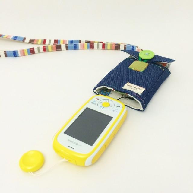 【ぷるる・キッズ向けケータイカバー(ポケット付)】デニム×車(ブルーデニム×白系)PDC0018