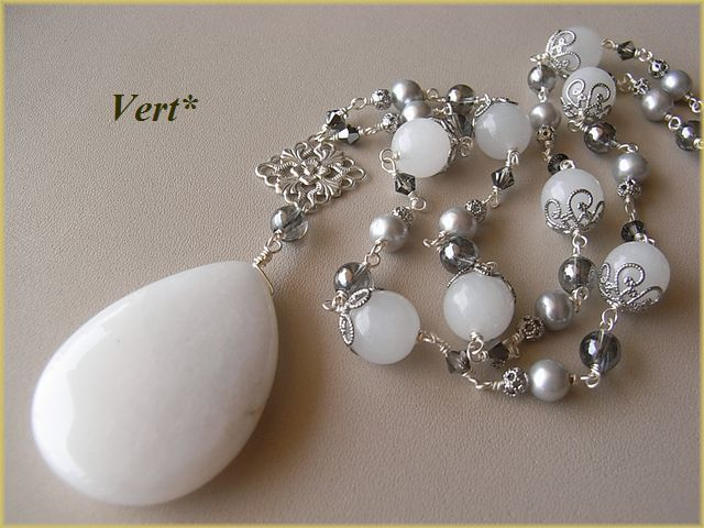 Vert* ホワイトジェードドロップトップネックレス【シルバー】