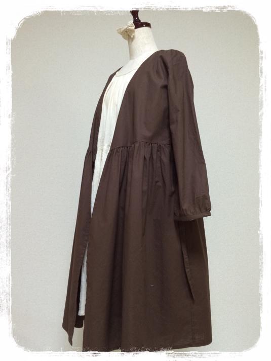 リボン結びの羽織りワンピース:ダークブラウン