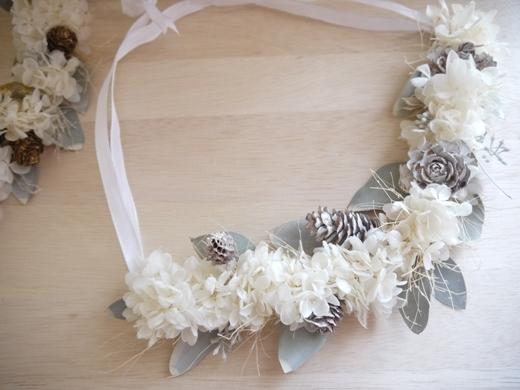 白い紫陽花の壁飾り・ホワイトウオッシュ