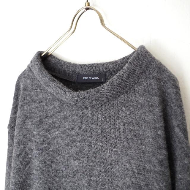 アンゴラウール接結クルーネックオーバー(dark gray)