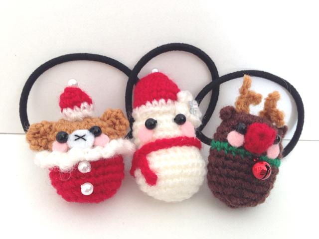 クリスマス・サンタ・トナカイ・雪だるま・あみぐるみ・ヘアゴム・子ども用・グッズ