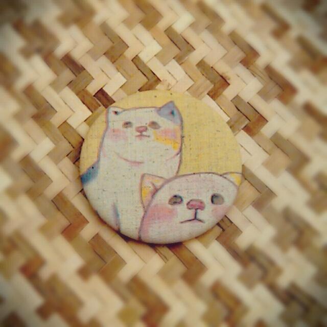 【アウトレット】布てかがみ 二匹のネコ  φ57mm