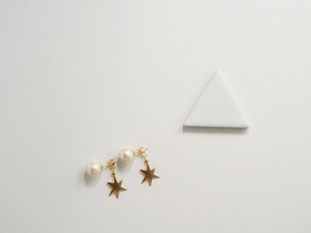 コットンパールと六角星-ピアス-