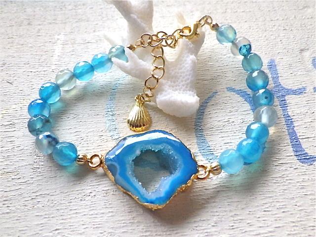 Lagoon Druzy Bracelet ブルーアゲート