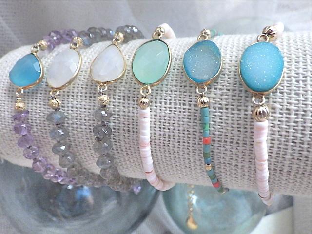 Druzy Beach Bracelet---Ocean blue druzy