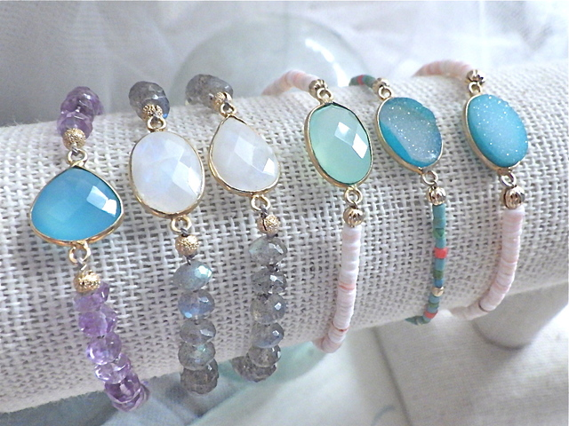Framed Gemstone Beach Bracelet--chacedony