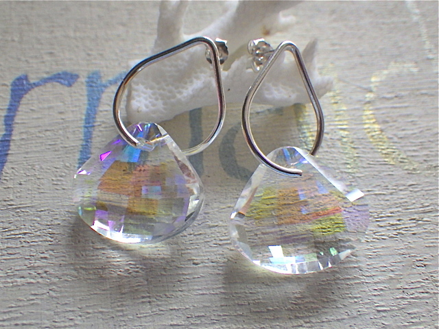 Crystal Seashell silver drop earrings --SV925
