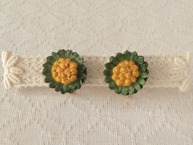 染め花のミニデイジーイヤリング(グリーン)