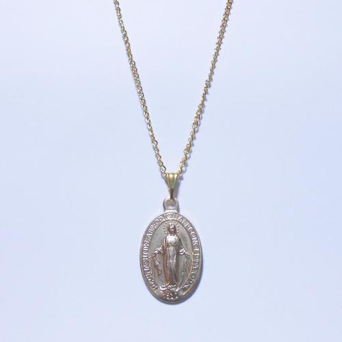 聖母マリア様シンプルネックレス(ゴールドトーン)