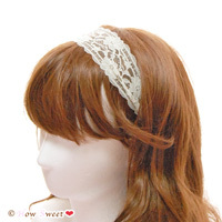 【HowSweet*】lace hair band [Cream Yellow]