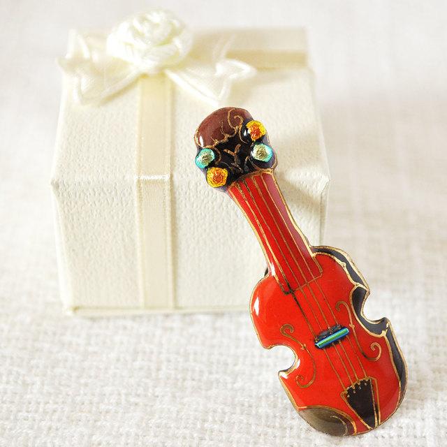 七宝焼ピンブローチ(ピンバッジ,ピンズ) バイオリン(赤)