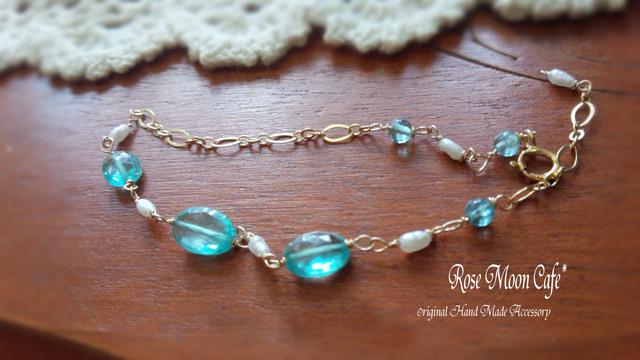 宝石質アパタイトとパールの上品な天然石ブレスレット