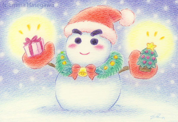 雪だるまサンタ(額付き)