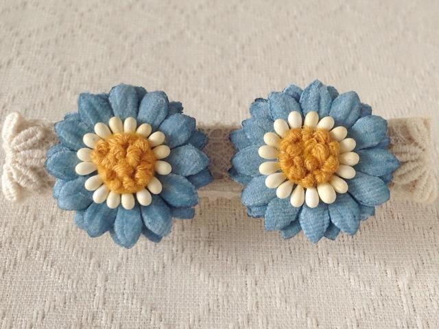 染め花のデイジーイヤリング(ブルー)