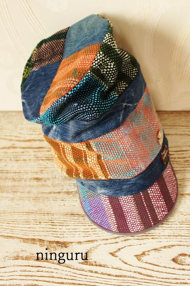 アフリカ女王様 帽子 (デニム×ブルー)