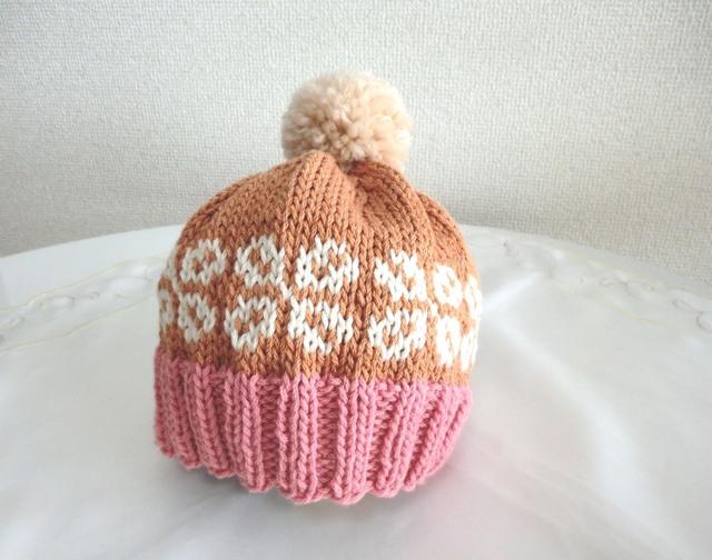 コットンウールの編み込み帽子 お花