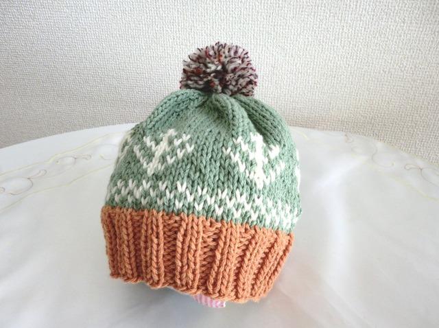 コットンウールの編み込み帽子 ツリー