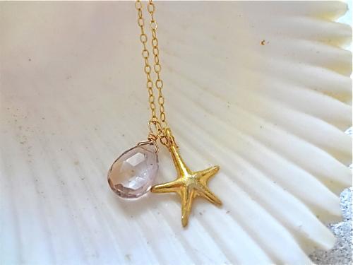 wishing upon a starfish  アメトリン&スターフィッシュの14gf ネックレス