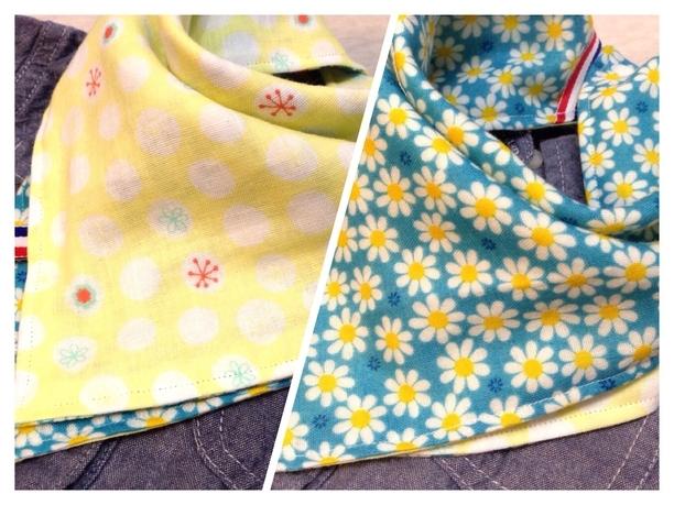 ハンカチスタイ・ガーゼハンカチ 優しい黄色の水玉に小さなお花