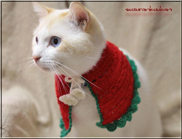 【猫犬用】ケープ首周り25cm 023クリスマスカラー<赤>