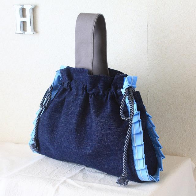 【フリルが可愛い巾着バッグ】 Ruesche・・・インディゴ