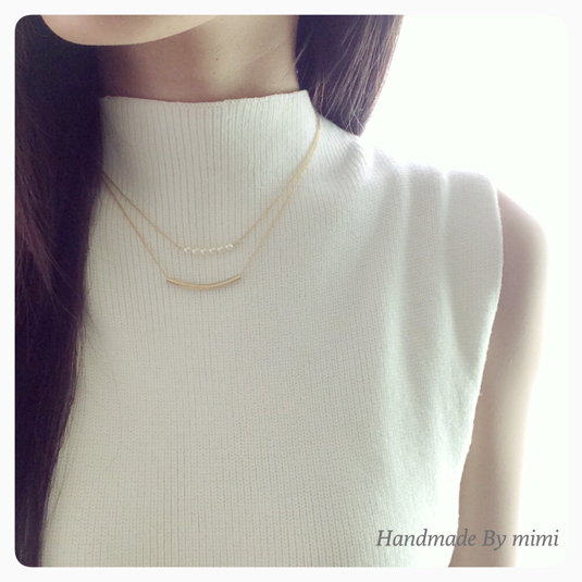 【size select】Pearl & Matpipe Necklace