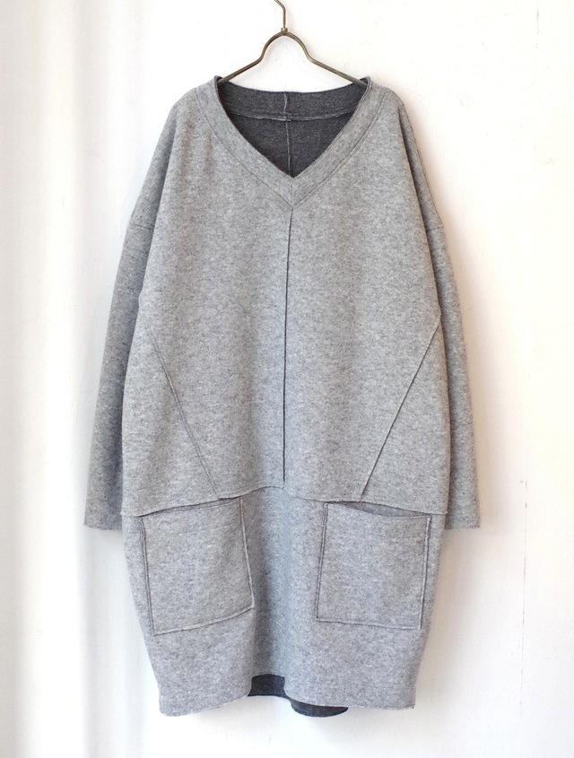 <販売開始>ウールリバーシブルプルオーバー(light gray & dark gray)