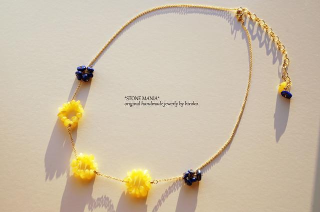 ?Bonheur?Amber&Lapis?necklace?