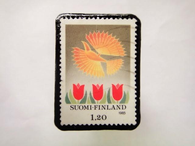 フィンランド クリスマス切手ブローチ163