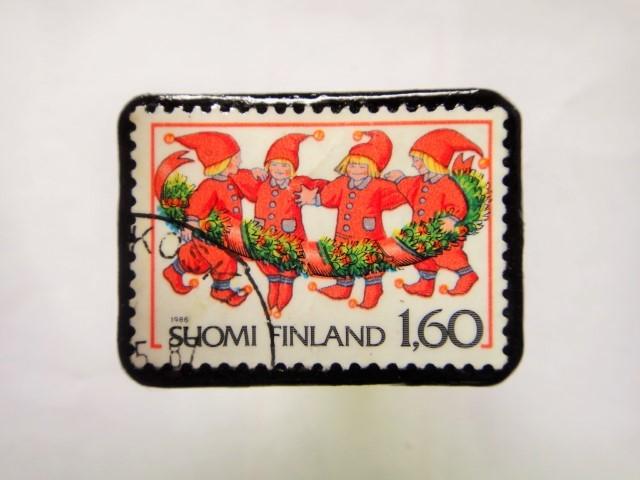 ィンランド クリスマス切手ブローチ164