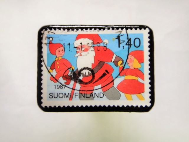 フィンランド クリスマス切手ブローチ166