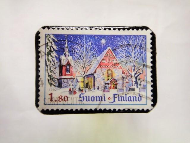 フィンランド クリスマス切手ブローチ170