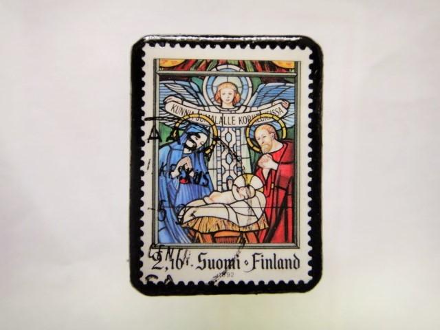 フィンランド クリスマス切手ブローチ171