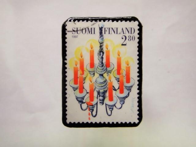 フィンランド クリスマス切手ブローチ177