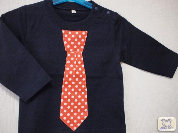 長袖ネクタイTシャツ/80サイズ/オレンジ×ネイビー