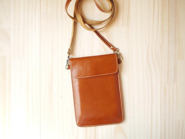 パスポートバッグ Travel Passport leather bag, BROWN