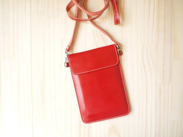 パスポートバッグ Travel Passport leather bag, RED