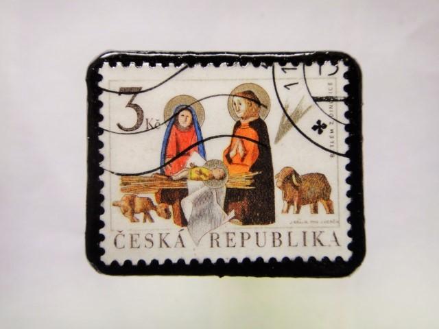チェコスロバキア クリスマス切手ブローチ192