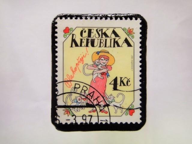 チェコスロバキア クリスマス切手ブローチ193